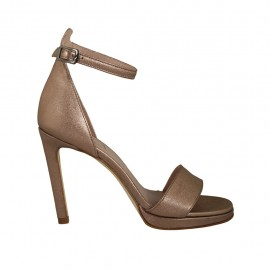 Woman's strap open shoe with platform in laminated copper leather heel 10 - Available sizes:  33, 34, 43, 44, 45