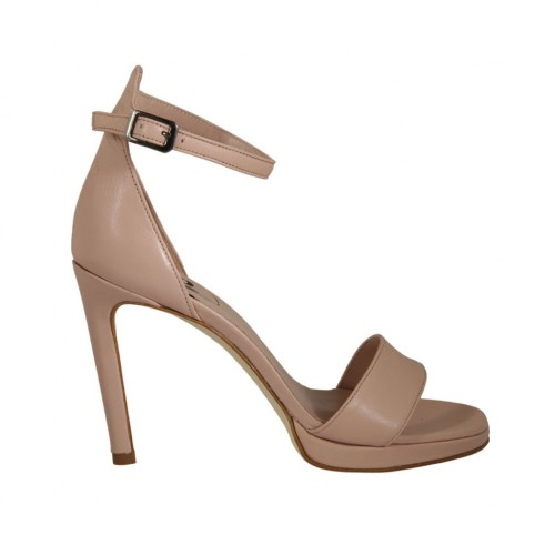 Woman's open shoe with strap and platform in nude leather heel 10 - Available sizes:  34, 44, 45