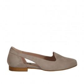 Bailarina para mujer con cortes laterales en gamuza gris tacon 1 - Tallas disponibles:  33