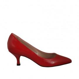 Zapato de salon para mujer en piel de color rojo tacon 5 - Tallas disponibles:  32