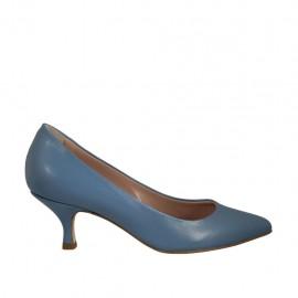 Zapato de salon para mujer en piel azul claro tacon 5 - Tallas disponibles:  43