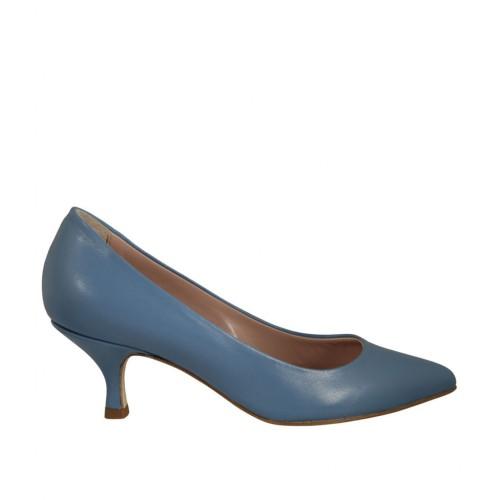 Decolté da donna in pelle blu chiaro tacco 5 - Misure disponibili: 33, 43