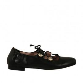 Bailarina para mujer con boton con estrás y cordones en piel negra tacon 1 - Tallas disponibles:  33, 34, 42, 43, 44, 45, 46