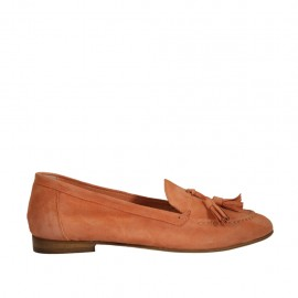 Woman's mocassin with tassels in salmon rose suede heel 1 - Available sizes:  32, 33, 34, 43, 46