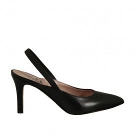 Chanelpump für Damen mit Gummiband aus schwarzem Leder Absatz 7 - Verfügbare Größen:  32, 33