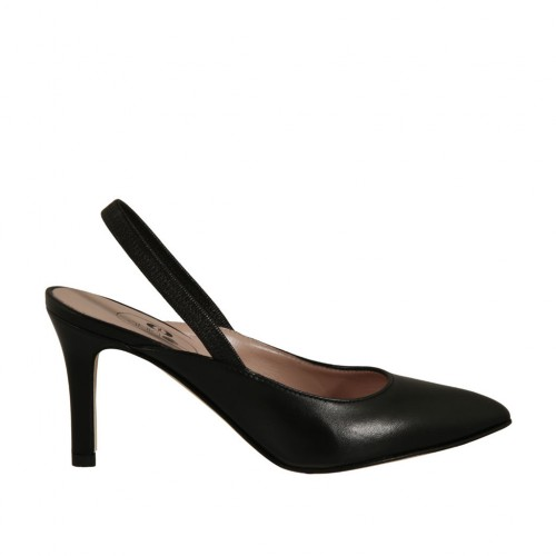 Woman's slingback pump with elastic band in black leather heel 7 - Available sizes:  32