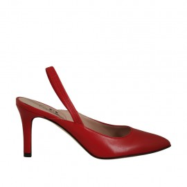 Woman's slingback pump with elastic band in red leather heel 7 - Available sizes:  32, 42, 43
