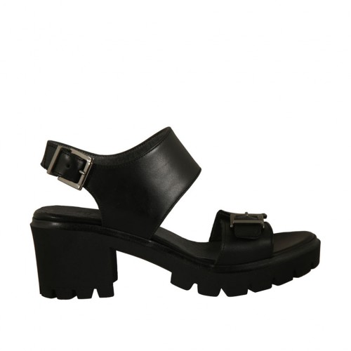 Woman's sandal in black leather with buckles heel 6 - Available sizes:  42, 44