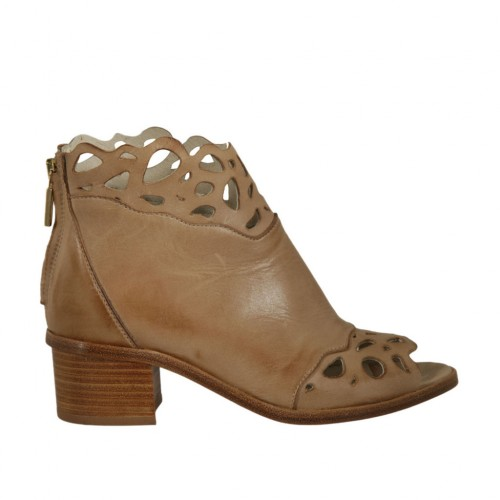 Woman's open toe highfronted shoe with zipper in beige pierced leather heel 4 - Available sizes:  42, 43, 46