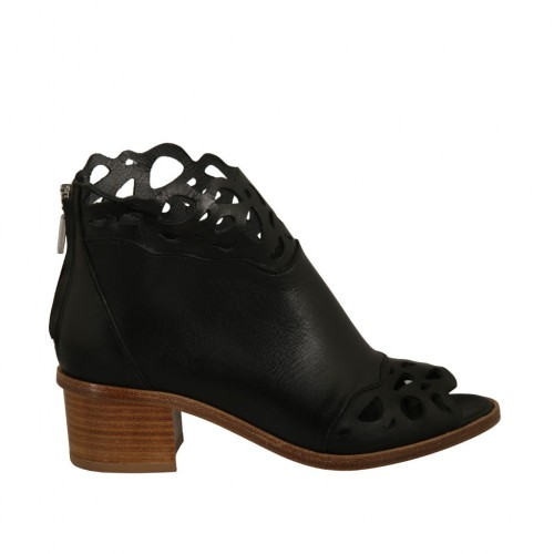 Woman's open toe highfronted shoe with zipper in black leather and pierced leather heel 4 - Available sizes:  34, 43, 45