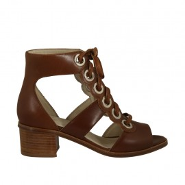 Woman's laced open shoe in tan brown leather heel 4 - Available sizes:  33, 43, 44