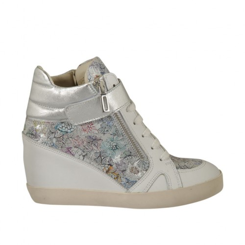 Woman's laced shoe with velcro and zippers in white and laminated silver leather and multicolored floral printed suede wedge 6 - Available sizes:  34, 42, 43, 44