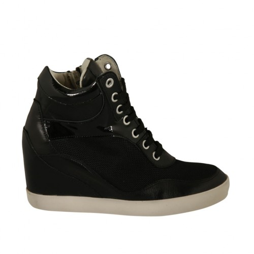Woman's laced shoe with zipper in black leather, patent leather and fabric wedge 6 - Available sizes:  34, 42