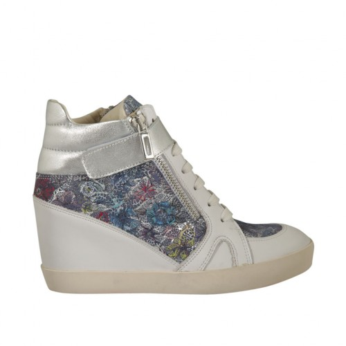 Woman's laced shoe with zippers and velcro in white and laminated silver leather and multicolored floral printed suede wedge 6 - Available sizes:  33, 34, 42, 43, 44