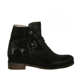 Woman's boot with zipper and buckle in black leather and pierced leather heel 2 - Available sizes:  33, 34, 43, 44, 45, 46