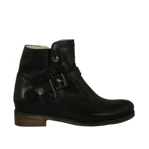 Woman's boot with zipper and buckle in black leather and pierced leather heel 2 - Available sizes:  33, 34, 44, 45, 46