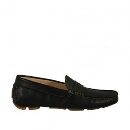 Mocassin sportif pour hommes en cuir noir - Pointures disponibles:  36, 37, 38, 47, 48, 49, 52