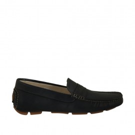 Men's casual mocassin in blue leather - Available sizes:  37, 47, 48, 52