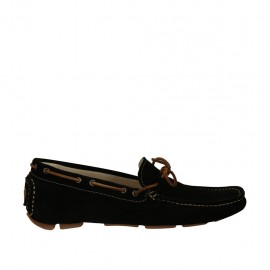 Men's laced casual mocassin in black suede - Available sizes:  38, 47, 48, 49, 50, 51, 52