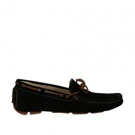 Sportlicher Herrenmokassin mit Schnüren aus schwarzem Wildleder - Verfügbare Größen:  47, 48, 49, 50, 51, 52