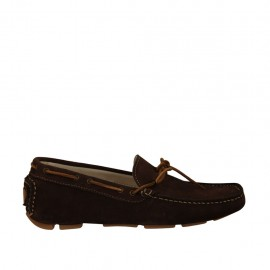 Men's laced mocassin in brown suede - Available sizes:  37, 38, 47, 48, 49, 50, 51, 52