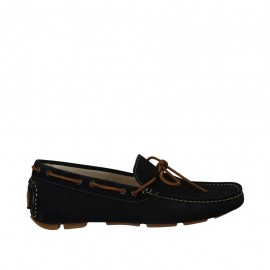 Men's laced mocassin in blue suede - Available sizes:  36, 37, 38, 46, 47, 48, 49, 50, 52