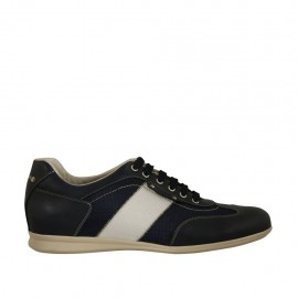 Men's laced casual shoe in white and blue leather and blue fabric - Available sizes:  47, 48, 51