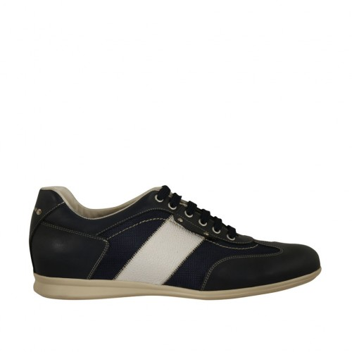 Men's laced casual shoe in white and blue leather and blue fabric - Available sizes:  47, 48