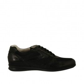 Men's casual laced shoe in black leather and fabric - Available sizes:  47, 48