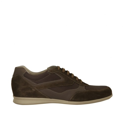 Men's laced sports shoe in taupe suede and grey leather and fabric - Available sizes:  47, 50, 51, 52