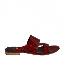 Woman's mules in red patent leather heel 1 - Available sizes:  33, 34, 43, 44, 45