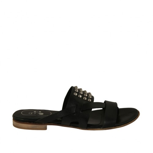 Woman's thong mules with studs in black leather heel 1 - Available sizes:  42, 43
