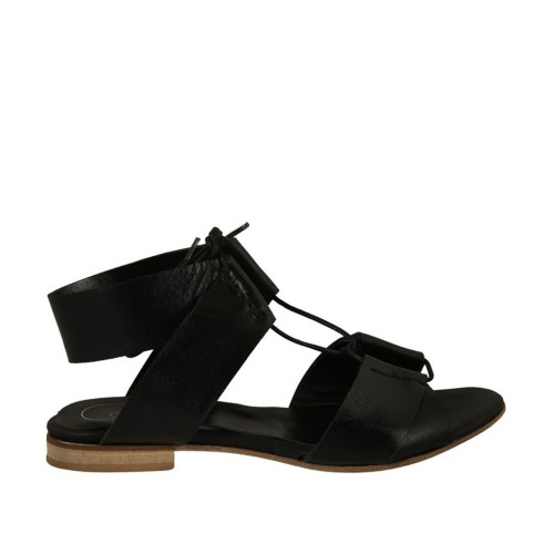 Woman's laced sandal in black leather heel 1 - Available sizes:  33