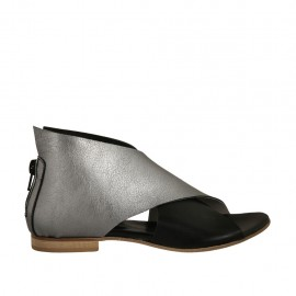 Woman's open shoe with zipper in black and silver laminated leather heel 1 - Available sizes:  33, 34
