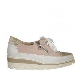 Woman's laced shoe with zipper in white leather, pink suede and gold printed leather wedge heel 3 - Available sizes:  33, 34, 42, 43, 44, 45, 46