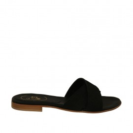 Woman's mules in black nubuck leather heel 1 - Available sizes:  33, 42, 43, 45, 46