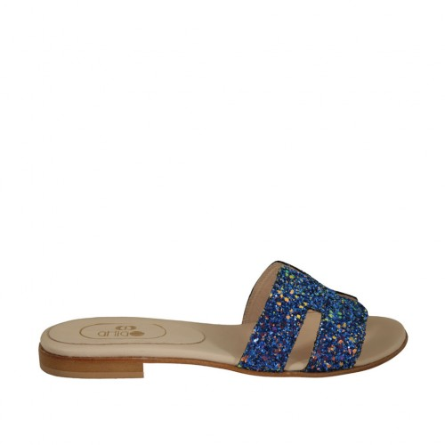 Woman's mules in blue glittered leather heel 1 - Available sizes:  42