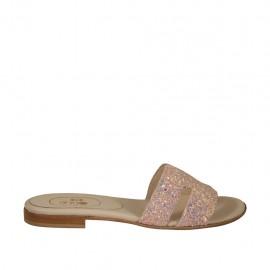 Pantolette für Damen aus mit rosafarbenen Glittersteinen bedecktem Leder Absatz 1 - Verfügbare Größen:  33, 34, 42, 43, 44, 45, 46, 47