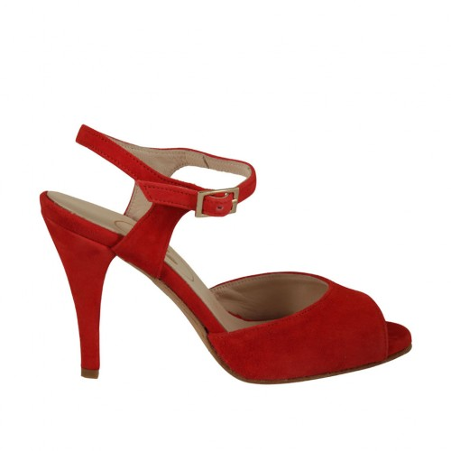 Woman's strap sandal in red suede heel 9 - Available sizes:  32, 33, 42, 43, 45, 46