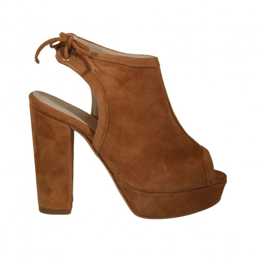 Woman's laced sandal in tan brown suede with platform and heel 10 - Available sizes:  34, 42, 44