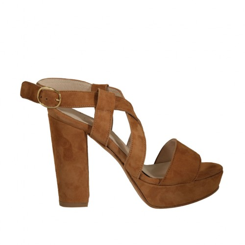 Woman's sandal with platform in tan brown suede heel 10 - Available sizes:  42, 45