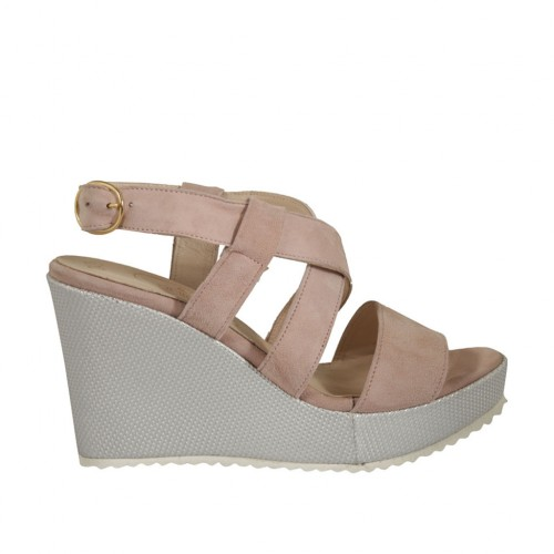 Woman's sandal in rose suede and silver laminated fabric with platform and wedge heel 8 - Available sizes:  31, 34