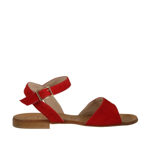 Woman's strap sandal in red suede heel 1 - Available sizes:  33