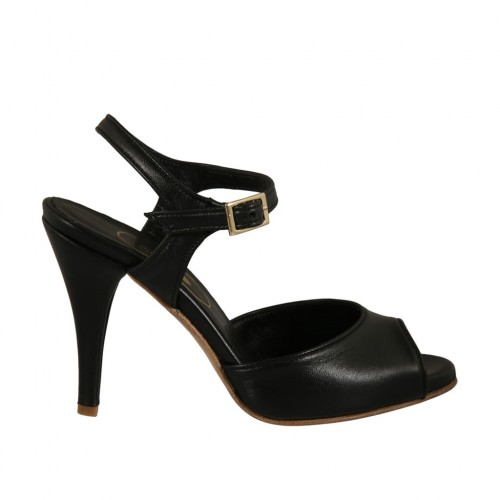 Woman's strap sandal in black leather heel 9 - Available sizes:  32, 33, 42, 46