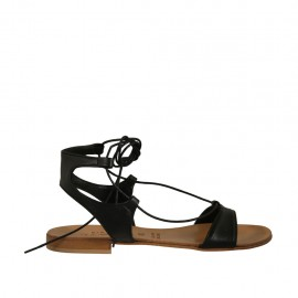 Woman's sandal with laces in black leather heel 1 - Available sizes:  43, 44, 45, 46, 47
