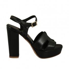 Woman's platform sandal with strap in black leather with heel 10 - Available sizes:  32, 33, 42, 43, 44, 46