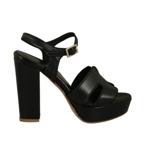 Woman's platform sandal with strap in black leather with heel 10 - Available sizes:  43, 46