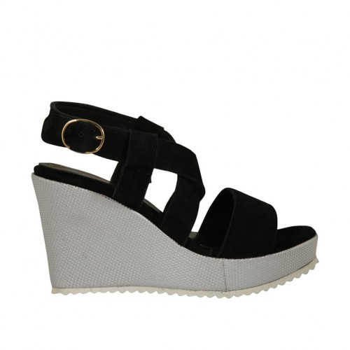 Woman's sandal in black suede and silver laminated fabric with platform and wedge heel 8 - Available sizes:  32, 34