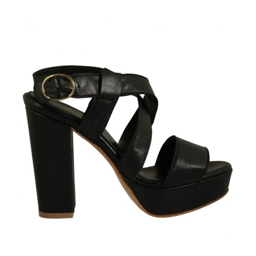 Woman's sandal with platform in black leather with heel 10 - Available sizes:  42, 46