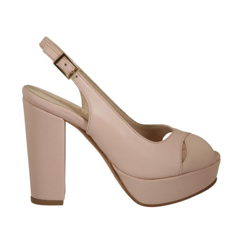 Woman's strap sandal with platform in rose leather heel 10 - Available sizes:  42